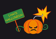 I hate halloween. Vector illustration on a black background. Festive vector background. Cartoon Character Halloween pumpkin. Funny vector illustration. Mad Stock Photography