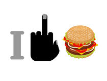 I hate hamburger. Fuck and burger. logo for healthy food. Agains Stock Photos