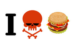 I hate hamburger. Skull symbol of hatred and great burger. I do. Not like fast food. Logo for healthy lifestyle royalty free illustration