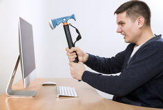 I hate this job Crazy man is going to destroy his Royalty Free Stock Image