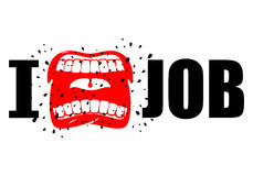 I hate job. shout symbol of hatred and antipathy. Open mouth. Fl. Ying saliva. Yells and strong scream. Emblem of hatred of his work vector illustration
