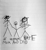 I hate mom and dad. Stick figure drawing of a child holding mom and dad's hand with the parent's faces scribbled out Stock Photos