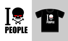 I hate people. Symbol of hatred skull with bones. Sign for t-shi. Rts bully and punk. Vector illustration royalty free illustration
