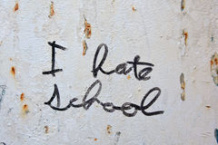 I Hate School graffiti on metal wall Stock Photos