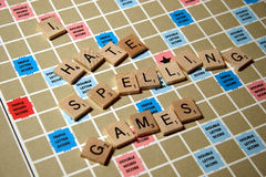 I hate spelling games Stock Images