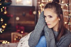 Lonely woman during Christmas time. I hate spending christmas in loneliness Stock Photo