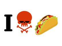 I hate taco. Skull symbol of hatred and traditional Mexican food. Tortilla chips and onion. Tomato and fresh meat. Logo for unfriendliness of spicy food stock illustration