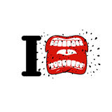 I hate template. shout symbol of hatred. Aggressive Open mouth. Yelling and cursing vector illustration