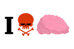 I hate to think. Skull symbol of hatred and brain. Logo for bull. Ies. Aversion to reflect vector illustration