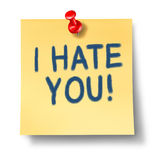 I hate you. Paper note reminder with red thumb tack representing the concept of bitter hatred that can ruin your mental health and resut in sadness and anger vector illustration