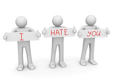 I HATE YOU banner to place your text. 3d characters isolated on white background Royalty Free Stock Photo