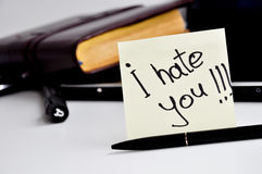 I hate you sticker note Royalty Free Stock Photos