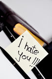I hate you sticker note Stock Photo