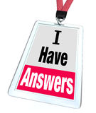 I Have Answers Badge Employee Expert Knowledge Help Stock Photography