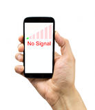 I have bad coverage. Hand holding the smartphone with bad coverage over white background. All screen content is designed by us and not copyrighted by others and Stock Image