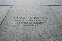Martin Luther King Speech Memorial. The words of Martin Luther King, written in stone, at the spot where he gave his speech, in front of the Lincoln Memorial stock photos