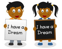 I Have a Dream Kids. Two kids showing the famous quote of Martin Luther King, 'I have a dream'. Eps file available vector illustration