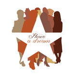 I Have a Dream star, Martin Luther King. Stars behind different ethnic people stock illustration