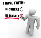 I Have Faith in Myself Vs Others Person Voting Self Reliance Con Royalty Free Stock Image