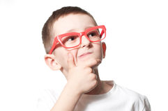 I have an good idea. Little cute boy on a white background Royalty Free Stock Image