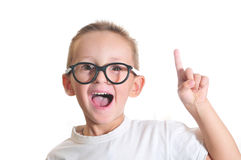 I have a great idea. Little cute boy with fingrer up Royalty Free Stock Photo
