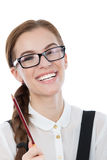 I have a great ideea! Beautiful woman with glasses isolated on w Stock Images