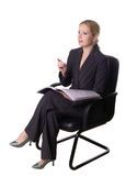 I have an idea!. Business woman in armchair Royalty Free Stock Photography
