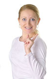 I have an idea!. Smiling young woman having got an idea Stock Photo