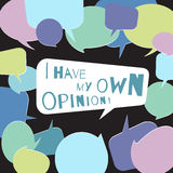 I have my own opinion speech bubble surrounded by other colorful speech bubbles. On dark background Royalty Free Stock Images