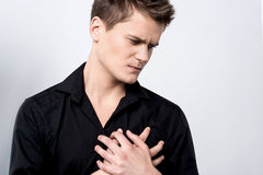 I have a severe chest pain ! Stock Image