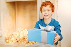 Mindful redhead child giving christmas present into camera Royalty Free Stock Photography