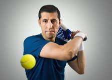 I have a strong hit. Tennis player ready to hit the ball Royalty Free Stock Image