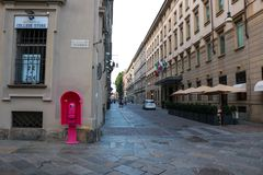 Torino pink telephone booth in the center of the city stock images