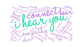 I Hear You Brain Animated Word Cloud stock illustration