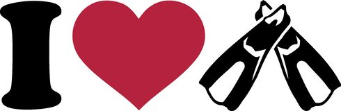 I heart diving fins. Vector illustration Royalty Free Stock Image