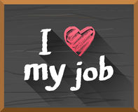 I heart my job on chalkboard vector Royalty Free Stock Photos