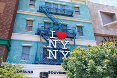 I heart NY sign, New York-New York Hotel and Casino, Las Vegas Strip in Paradise, Nevada, United States. Las Vegas, Nevada - May 28, 2018 : I heart NY sign, New royalty free stock photography