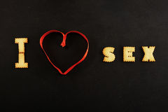 I heart sex on black background Royalty Free Stock Photography