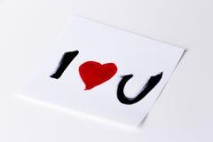 I heart u card. I love u / I heart u card on a white background, studio isolated Royalty Free Stock Images