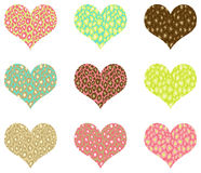 I Heart Valentine. Hearts with different leopard patterns Stock Photos