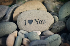 I Heart You. Closeup of inspirational message rocks on display in a store royalty free stock photo