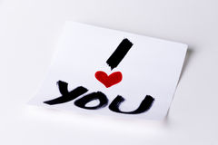 I heart you card. I love you / I heart you card on a white background, studio isolated Royalty Free Stock Photo