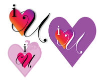 I Heart You. I love you graphic using i a heart and u Royalty Free Stock Image
