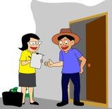 I-hem marknadsföringsgranskning eller folkräkning royaltyfri illustrationer
