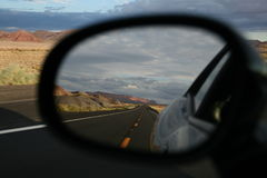 I89 highway in Arizona in my mirror Stock Photos