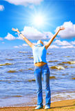 I hold the sun in my hands Royalty Free Stock Photos