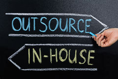I-huset eller lägger ut begreppet som dras på svart tavla arkivbilder