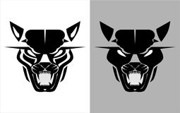I huvudrollen svart löst katthuvud royaltyfri illustrationer