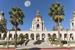 I Iconic Pasadena City Hall. East entrance of the Pasadena City Hall in Pasadena, California, USA. The moon and edifice were shot separately and merged digitally Stock Photography
