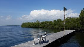 I invite you to have breakfast. Private dock in the mangroves of the morrocoy national park in Venezuela Stock Photos